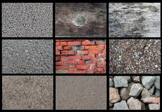 Textures. Of pumice rock, old wood, old painted wood, asphalt, brick, pebbles, sand close up, sand, rocks Stock Photo