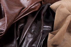 Textures of 3 types of leather Stock Image