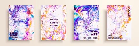 Textures artistiques pour la conception numérique Le fluide colore des milieux Placez des cartes de vecteur pour des identités de illustration stock
