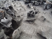 Textures of black lava in Big island Stock Photography
