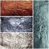 Textures of crumpled foil. Set of four metal backgrounds Stock Photos