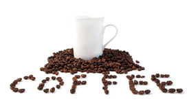 Textures de café avec une cuvette blanche Photographie stock