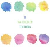 8 textures de fond d'aquarelles Image libre de droits