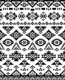 Textures ethniques sans couture de modèle couleurs noires et blanches Copie géométrique de Navajo Photo stock
