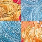 Textures of golden and blue tapestry Stock Photo