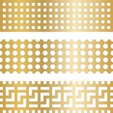 Textures of golden metal with holes. Rectangles are gold in color with holes of different shapes. Flat design, vector illustration, vector Royalty Free Stock Photo