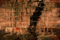 Textures: Grunge wall. Brick wall, with traces of paint, dust, dirt, mold royalty free stock photo