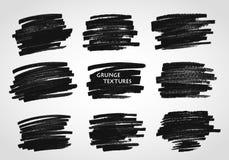 Textures grunges Courses de brosse de vecteur Craie et charbon de bois tableau illustration libre de droits