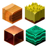 Textures for Platformers Icons Cubical Vector Set Stock Image