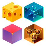 Textures for Platformers Icons 3d Vector Set Stock Photo