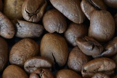 Textures of roasted coffee beans stock photos