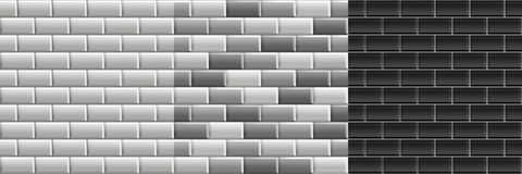 Textures sans couture noires et blanches des tuiles de souterrain Placez du mur de briques de gamme de gris de vecteur illustration libre de droits