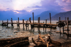 Textures on the shore of Lake Atitlan at Sunset Royalty Free Stock Image