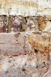 Textures of soil layers. Various textures of soil layers Stock Photography