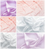 Textures of wavy crumpled silk. A set of tissue samples Stock Photography