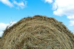 Texturice alrededor de granja seca secada natural del pueblo de la hierba seca de la paja del pajar contra las nubes de un cielo  imagen de archivo libre de regalías