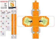 Texturice la caja anaranjada del bebé del modelo con el gato místico libre illustration