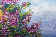 Texturice la pintura al óleo, flores, arte, imagen pintada del color, pintura, Fotos de archivo libres de regalías