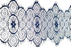Textuur, achtergrond, patroon De stof van het kant Donkerblauwe kleur Eleg Royalty-vrije Stock Afbeeldingen
