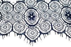Textuur, achtergrond, patroon De stof van het kant Donkerblauwe kleur Eleg Stock Afbeeldingen