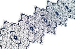 Textuur, achtergrond, patroon De stof van het kant Donkerblauwe kleur Eleg Royalty-vrije Stock Foto