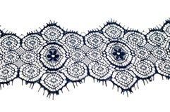 Textuur, achtergrond, patroon De stof van het kant Donkerblauwe kleur Eleg Royalty-vrije Stock Afbeelding