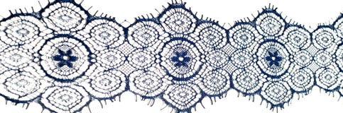 Textuur, achtergrond, patroon De stof van het kant Donkerblauwe kleur Eleg Stock Afbeelding