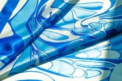 Textuur, achtergrond, patroon De de zijdezakdoek van een vrouw sjaal Stock Fotografie