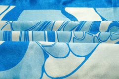 Textuur, achtergrond, patroon De de zijdezakdoek van een vrouw sjaal Stock Foto