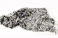 Textuur, achtergrond, patroon Een wollen zwart-witte sjaal, r Stock Foto