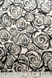 Textuur, achtergrond, patroon Een wollen zwart-witte sjaal, r Royalty-vrije Stock Foto's