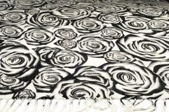 Textuur, achtergrond, patroon Een wollen zwart-witte sjaal, r Royalty-vrije Stock Foto