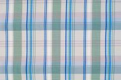 Textuur, achtergrond, patroon overhemd Blauwe witte roze groen Fabr Stock Foto's