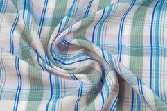 Textuur, achtergrond, patroon overhemd Blauwe witte roze groen Fabr Stock Fotografie