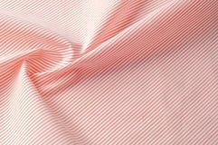 Textuur achtergrondpatroon Doekkatoen Wit in rode strepen Stock Foto's