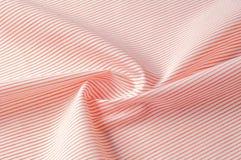 Textuur achtergrondpatroon Doekkatoen Wit in rode strepen Royalty-vrije Stock Foto
