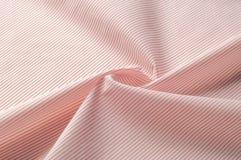 Textuur achtergrondpatroon Doekkatoen Wit in rode strepen Royalty-vrije Stock Fotografie