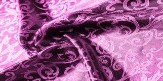 textuur achtergrondpatroon van het Koninklijke monogram van de zijdestof Roze stock fotografie