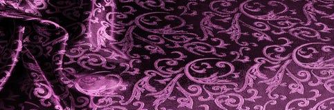 textuur achtergrondpatroon van het Koninklijke monogram van de zijdestof Roze stock afbeeldingen