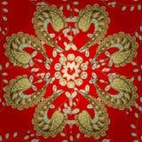 Textuur gouden draad op een rode achtergrond Royalty-vrije Stock Afbeeldingen