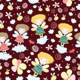 Textuur met de meisjes in de wolken Royalty-vrije Stock Afbeeldingen