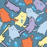 Textuur met grappige beeldverhaalkatten Stock Foto's