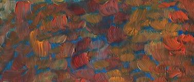 Textuur met grote kwaststreken Landschap met rivier en bos royalty-vrije stock foto
