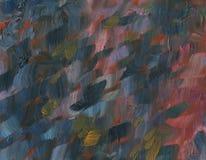 Textuur met grote kwaststreken Landschap met rivier en bos stock foto