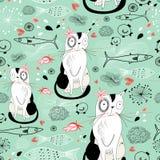 Textuur met katten en vissen Stock Afbeelding