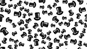Textuur naadloos patroon met mooie vrolijke feestelijke heldere gekleurde zwarte magische heren` s hoeden door cilinders stock illustratie
