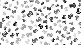 Textuur naadloos patroon met mooie vrolijke feestelijke heldere gekleurde zwarte magische heren` s hoeden door cilinders vector illustratie