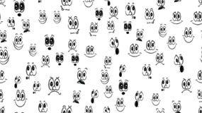 Textuur naadloos patroon van diverse zwart-witte emoties: vreugde, glimlach, woede, verrukking, ontevredenheid, speelsheid, pret, stock illustratie