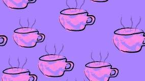 Textuur naadloos patroon van ultraviolette koppen mokken met een handvat van hete heerlijke het stimuleren zwarte die koffie met  royalty-vrije illustratie