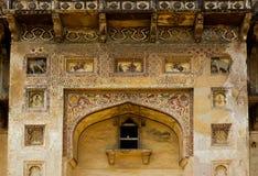 Textuur op ingangsmuur van paleis stock afbeeldingen